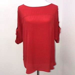 Ann Taylor Loft blouse sz Small coral short sleeve